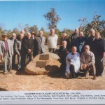 Nagambie Road Plaques Dedication May 12th 2004 (L-R) Len Allan, Doc Holliday, Ted Young, Wattie Tully, Ken Stanley, Bob Crawford, Vern Laidlaw, Dick Holmes, David James, Les Williams, Ron Moyle, Len Martin, Lloyd Champion, Mayor Cr Sue Marstaeller.  Front Row: Jack Bacon, Chaplain Lt Col Peter Hayes, Ken Trafford