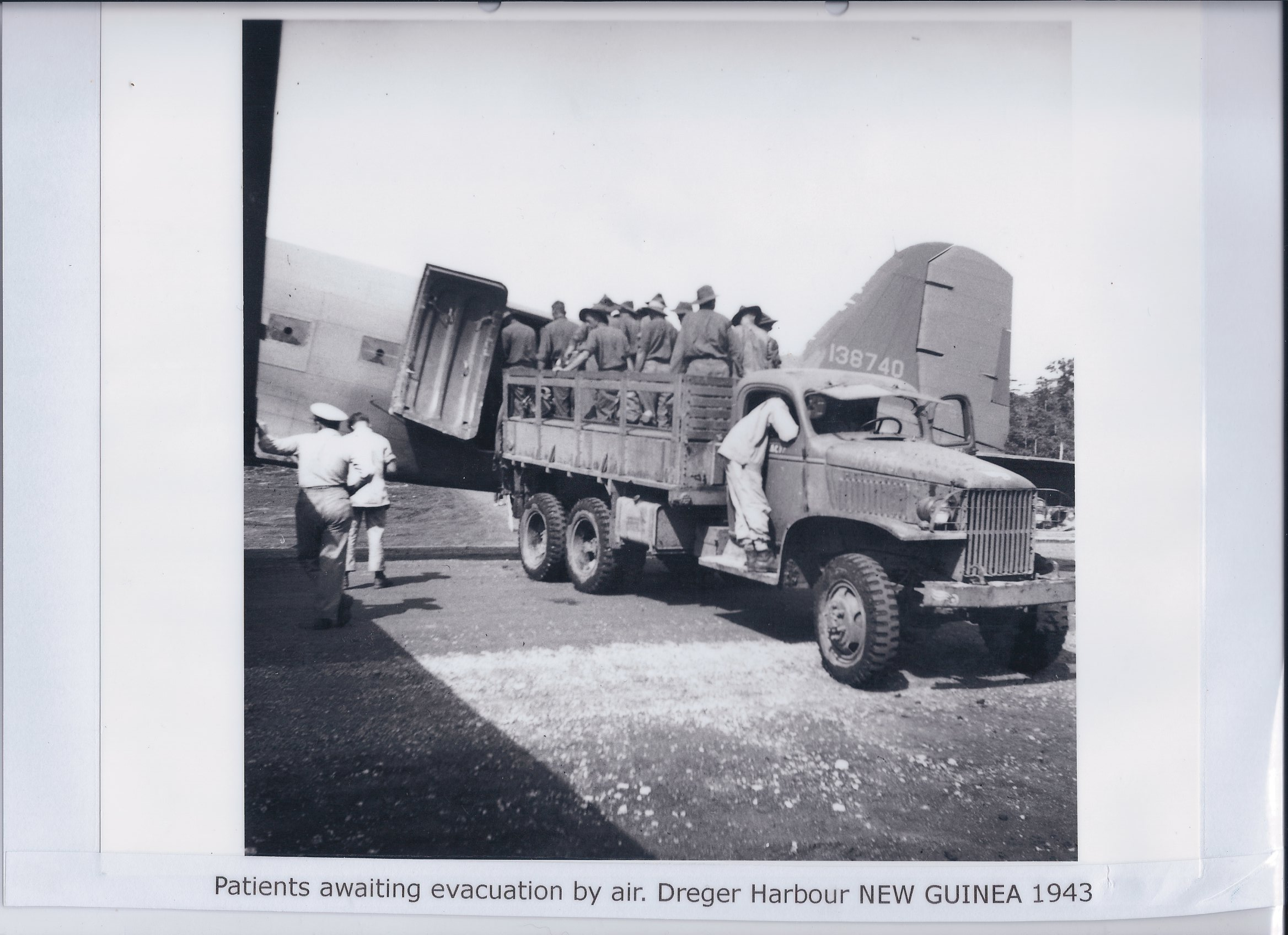 Patients awaiting evacuation by air. Dreger Harbour NEW GUINEA 1943