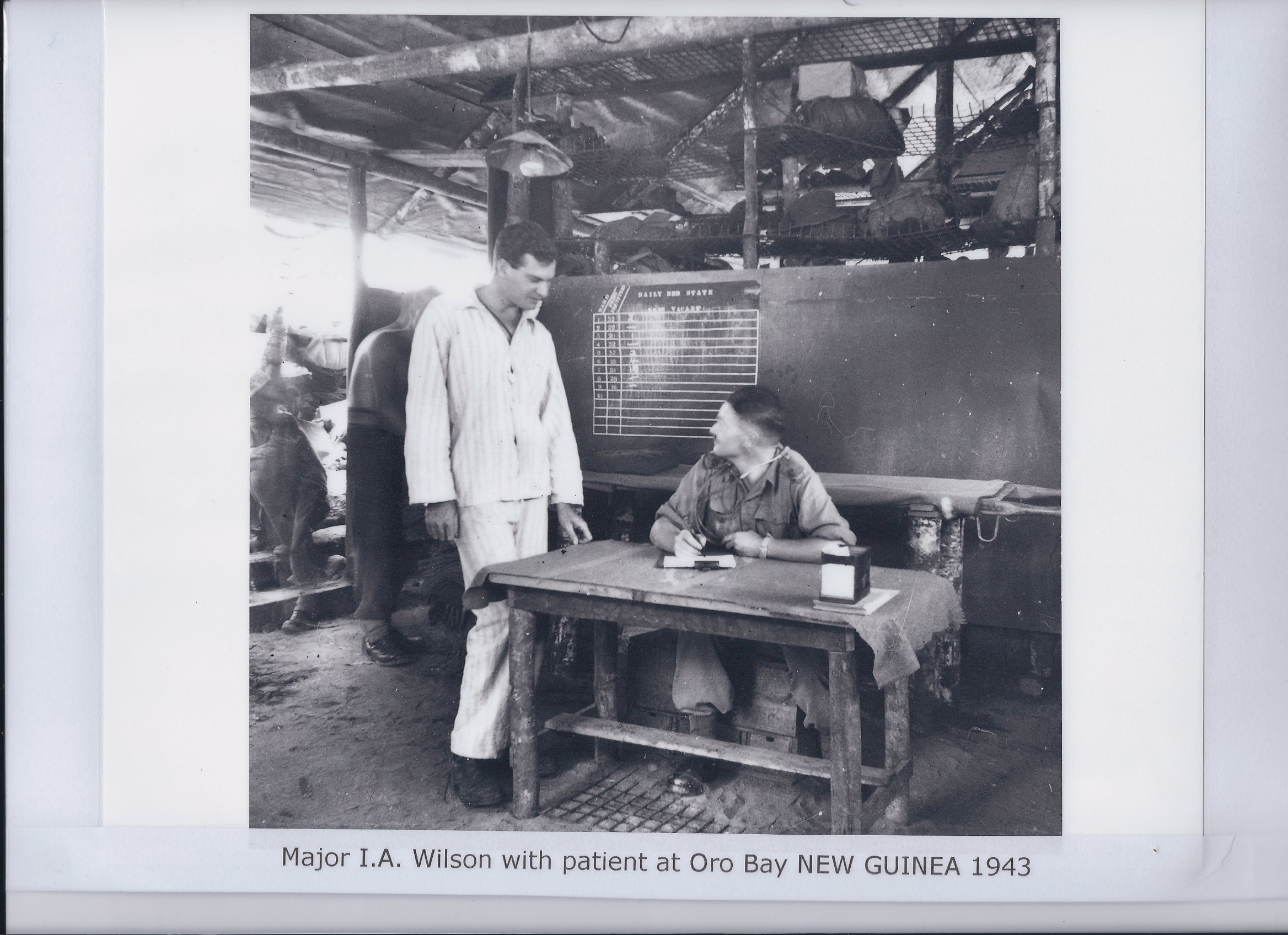 Major I.A. Wilson with patient at Oro Bay NEW GUINEA 1943