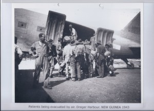 Patients being evacuated by air. Dreger Harbour. NEW GUINEA 1943