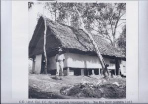 C.O. Lieut. Col. E.C. Palmer outside Headquarters - Oro Bay NEW GUINEA 1943