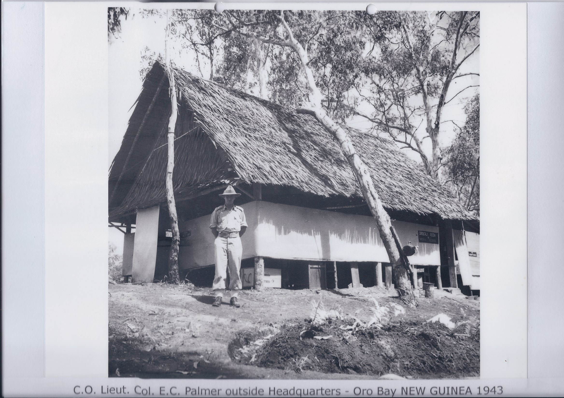 C.O. Lieut. Col. E.C. Palmer outside Headquarters - Oro Bay NEW GUINEA 1943
