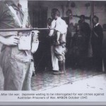 After the war. Japanese waiting to be interrogated for war crimes against Australian Prisoners of War. AMBON October 1945